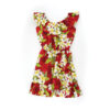 Girl's Hawaiian Dress. Plumeria Red. Ruffled Sleeves. 100% Cotton.