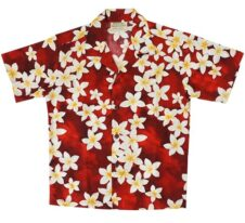 Hawaiian Shirt Plumeria Red
